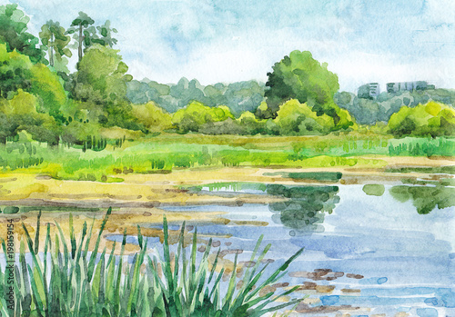 Foto op Aluminium Zwavel geel Watercolor hand-drawn summer landscape (sunny day)
