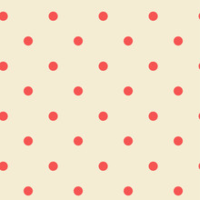 Polka Dot Seamless Pattern. Retro Pastel Colored. Red Dots On Pink Background. Pattern Design For Textile, Scrap-booking, Wrapping, Fashion, Web, Surface Design.