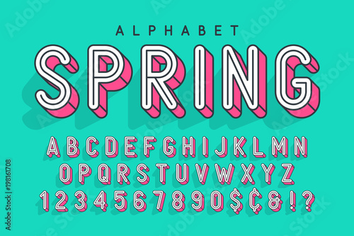 Condensed display font popart design, alphabet, letters and numb