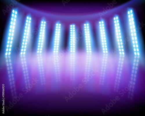 Lighting effects on the stage. Vector illustration. Fototapeta