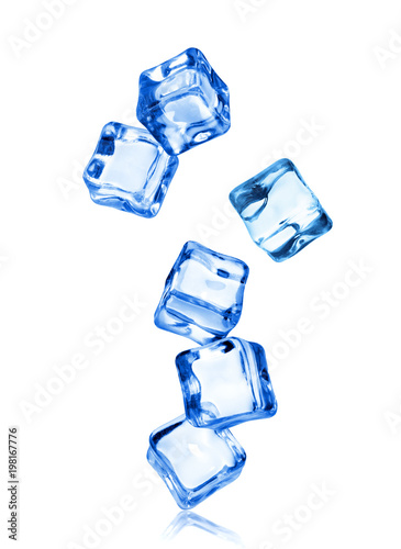 Ice cubes in dynamic motion frozen in the air, isolated on white background