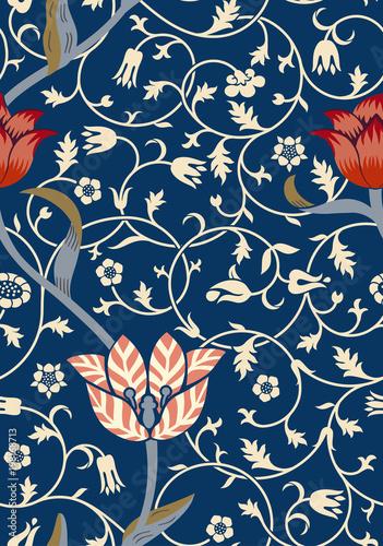 Vintage floral seamless pattern on dark background. Vector illustration. - 198168713