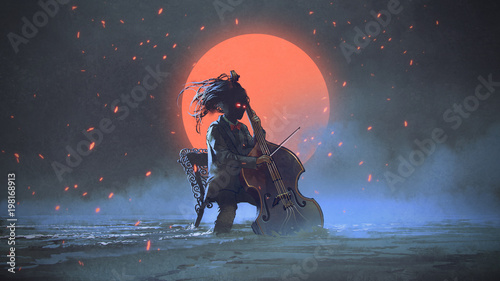 mysterious man sitting on a chair playing the cello in the sea aginst the night sky with the red moon, digital art style, illustration painting