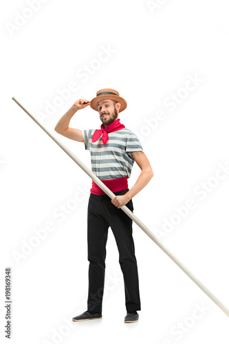 Fotografija Caucasian man in traditional gondolier costume and hat