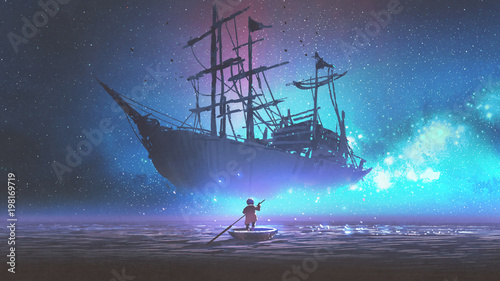 Fotobehang Schip little boy rowing a boat in the sea and looking at the sailing ship floating in starry sky, digitl art style, illustration painting