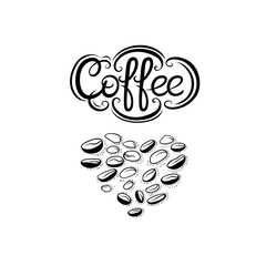 Fototapeta Napisy Heart of coffee beans and lettering inscription. Symbol love coffee drink for cafe coffee shop or menu. Vector black and white illustration on white background.