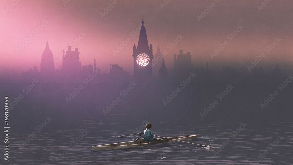 Fototapety, obrazy: Boy rowing a boat in the sea and mist with ancient castles in background, digital art style, illustration painting