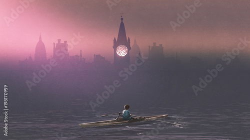 Photo  Boy rowing a boat in the sea and mist with ancient castles in background, digita
