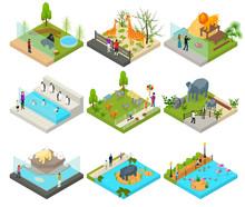 Public Zoo Set Concept 3d Isometric View. Vector