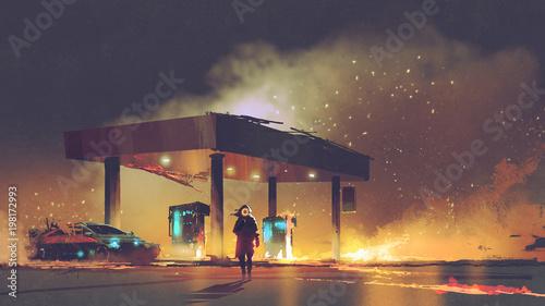 Fotografie, Obraz  scene of the man burning the gas station at night, digital art style, illustrati