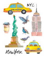 New York Doodle Set. American ...