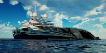Extremely Detailed And Realistic High Resolution 3D Illustration Of A Luxury Super Yacht.