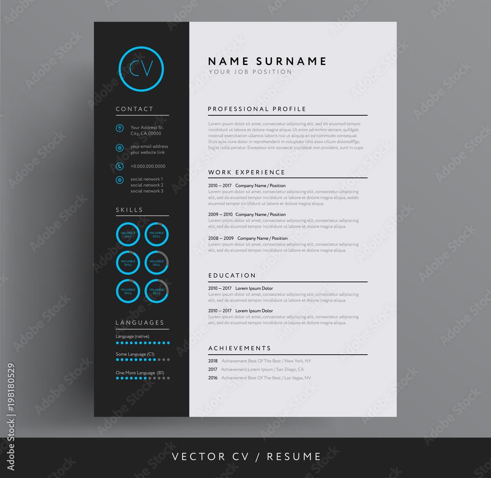 Fototapeta Stylish CV / resume template - blue and dark gray backgound