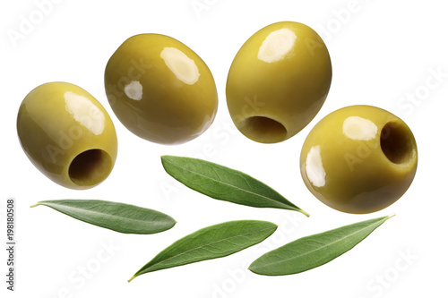Green pitted olives, paths