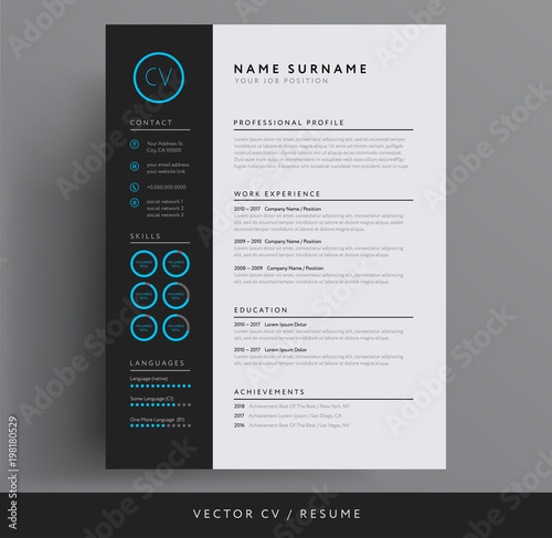 stylish cv resume template blue and dark gray backgound buy