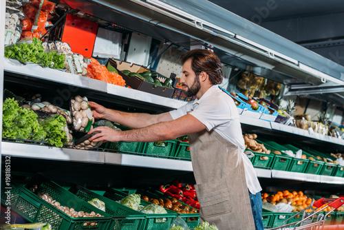 Plakat sprzedawca mężczyzna w fartuchu układanie świeżych warzyw w sklepie spożywczym