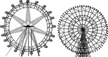 Two Ferris Wheels Isolated On White