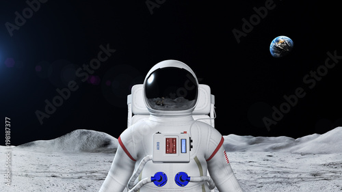 Astronaut On The Moon Surface Wallpaper Mural