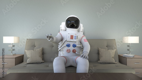 Photo  An astronaut watching tv and changing channels. Bizarre scene.