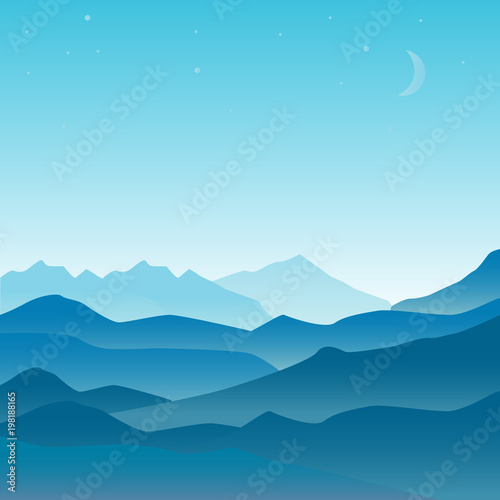 Foto op Canvas Blauwe jeans Vector landscape illustration in flat design