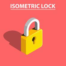 3D Isometric Lock Vector