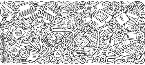 Cartoon vector doodles Art and Design horizontal stripe illustration