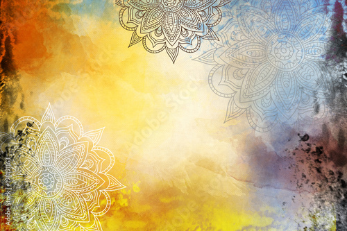 Fotografia  Grunge Mandala Background yellow and orange