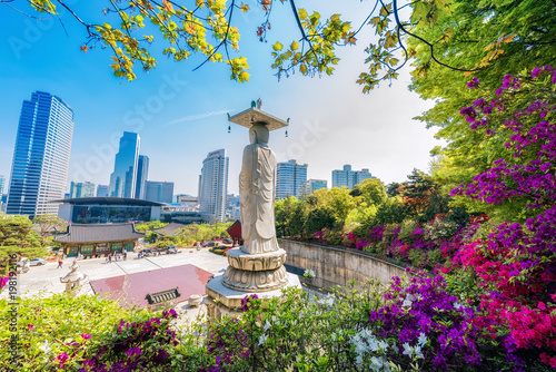Photo sur Aluminium Seoul Bongeunsa Temple During the Summer in the Gangnam District of Seoul, South Korea