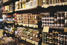 Jars Of Food In A Delicatessen In Italy
