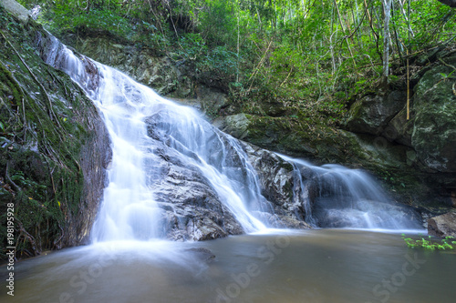 Aluminium Prints Forest river mae kam pong waterfall 4th floor on smooth flow water