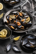 Close Up Of Baked Mussels Serv...