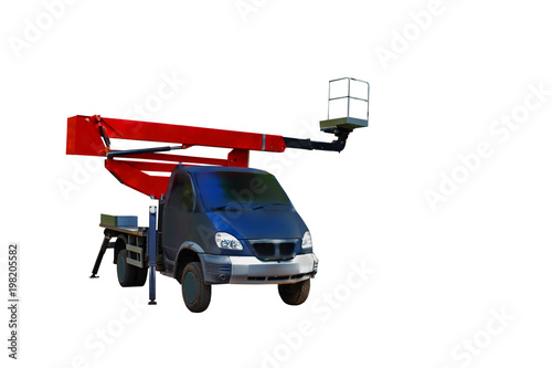 Mobile crane, with a basket for a working installer, lifting to a