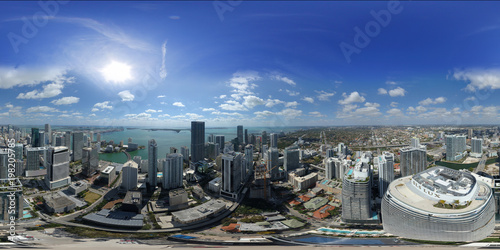 Fotografia  Aerial 360 spherical city panorama Miami Brickell City Heights and Centre