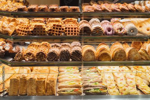 Stampa su Tela Bakery bread pastry sweets display window case