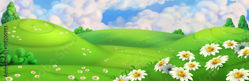 Spring background. Green meadow with daisies vector illustration - 198206983