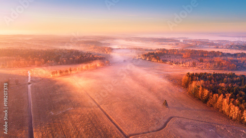 Aerial foggy rural landscape. Sunny misty morning