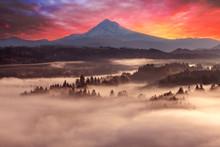 Mount Hood Foggy Sunrise In Beautiful Oregon