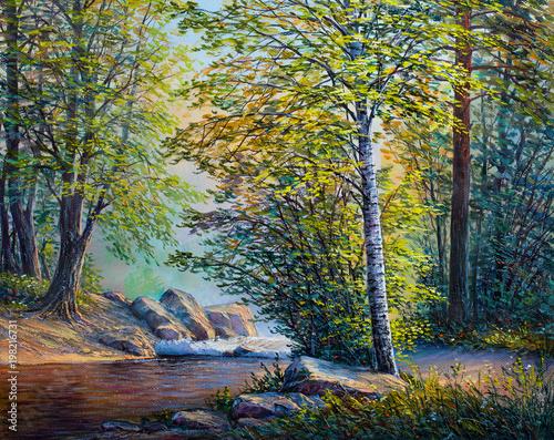 obraz-olejny-krajobraz-las-lato