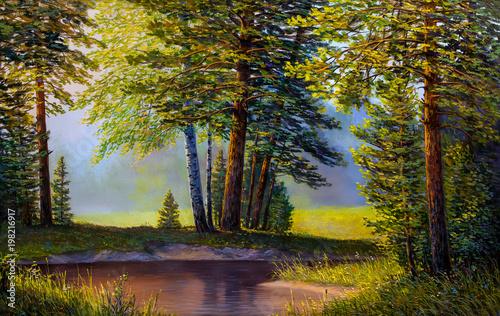 krajobraz-gorska-rzeka-obraz-olejny-na-plotnie