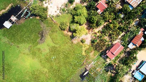 Cuadros en Lienzo Aerial view of traditionnal village in Siem-Reap, Cambodia