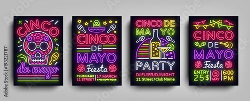 Fotografía  Cinco de Mayo Collection posters in neon style