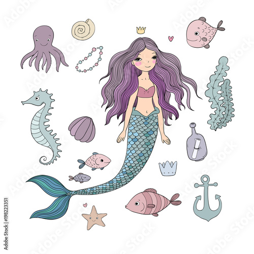 Marine illustrations set. Poster