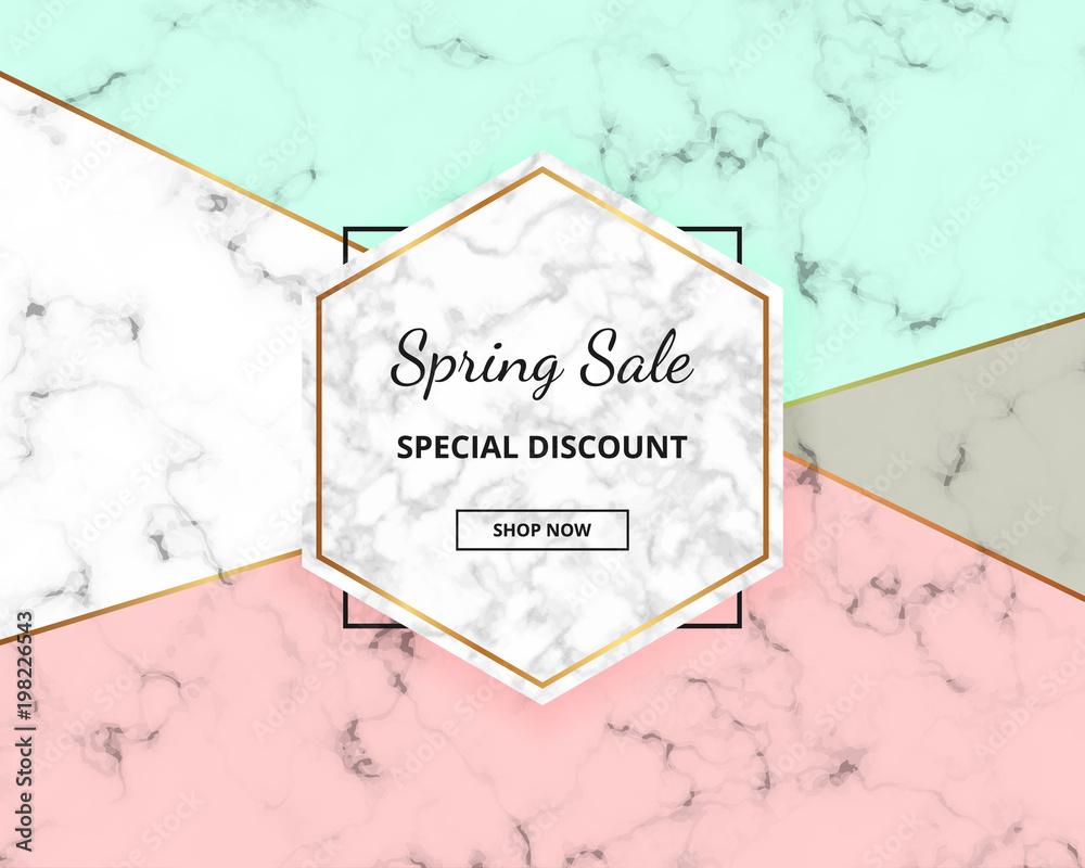 Spring Sale Cover Geometric Design With Marble Texture And