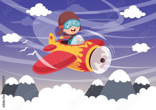Spoed Foto op Canvas Vliegtuigen, ballon Vector Illustration Of Kid Operating Plane