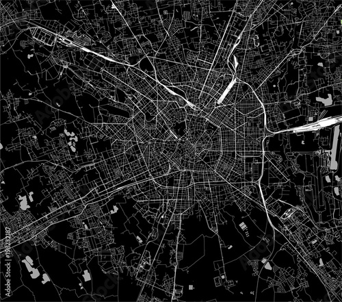 Fotografía vector map of the city of Milan, capital of Lombardy, Italy