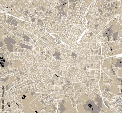 Fotomural vector map of the city of Milan, capital of Lombardy, Italy