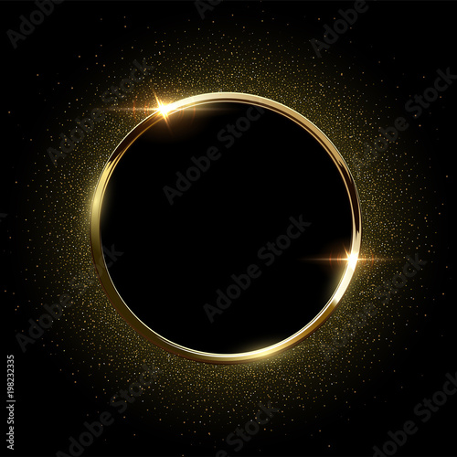 Pinturas sobre lienzo  Golden sparkling ring with golden glitter isolated on black background