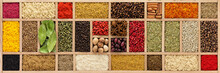 Background Of Various Spices And Herbs. Seasoning In  Wooden Box, Top View
