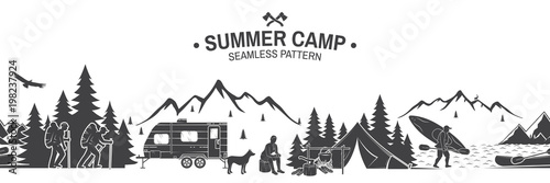 plakat Summer camp seamless pattern. Vector illustration.