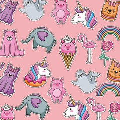 pattern cute patches animals fashion image vector illustration